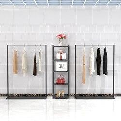 Eenvoudige Ijzeren Art Kledingwinkel Kledingrekken Toont Stand Floor-type Dameskleding Winkel Plank Display Combinatie te Dragen