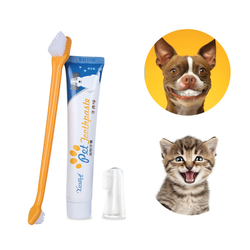 Tooth Paste Tooth Brush for Dogs Cats Teeth Brushing Cleaner Pet Breath Freshener Oral Care Dental Cleaning Kit Toothbrush Set image