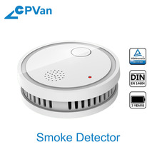 CPVan NEW Smoke Detector CE Certified Wireless Fire Sensor Protection EN14604 Listed with Photoelectric Sensor Fire Smoke Alarm