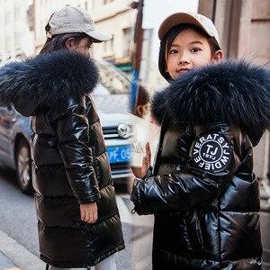 Image 4 - באיכות גבוהה בנות חורף חם לבן ברווז למטה מעילי Waterproof בני בגדי טבעי פרווה סלעית מעיל לילדים  30 parka
