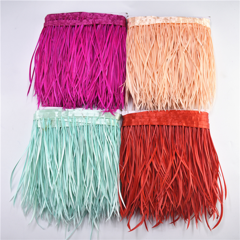 1Meters/Lot Pruning Goose Feathers Trims Ribbon Fringe 6-8 White Pheasant Feather for Crafts Wedding Decoration Plumas