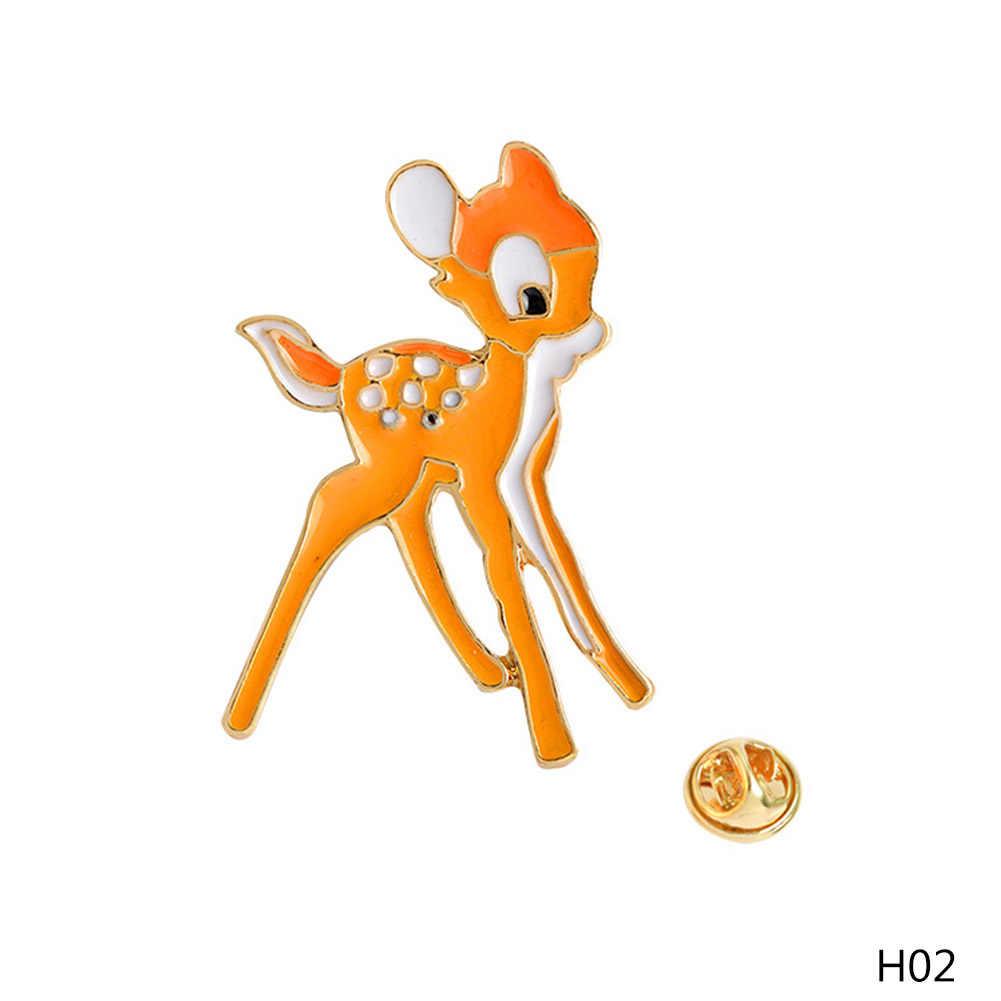 ปีกม้ากวาง Sika Deer เข็มกลัดเคลือบ Pins หัวเข็มขัดกระเป๋าเป้สะพายหลัง Pins Badge การ์ตูนสัตว์ของขวัญเครื่องประดับสำหรับเด็ก
