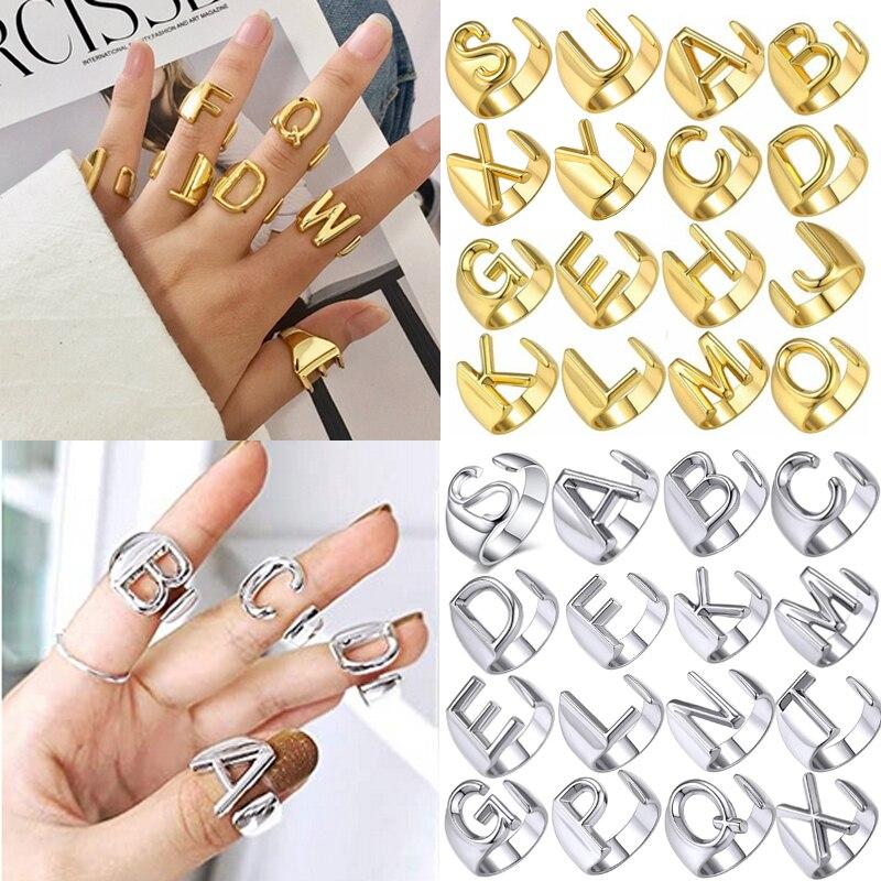 Punk Hohl A-Z Brief Gold Farbe Metall Verstellbare Öffnung Ring Initialen Name Alphabet Weibliche Party Klobigen Breites Trendy Schmuck