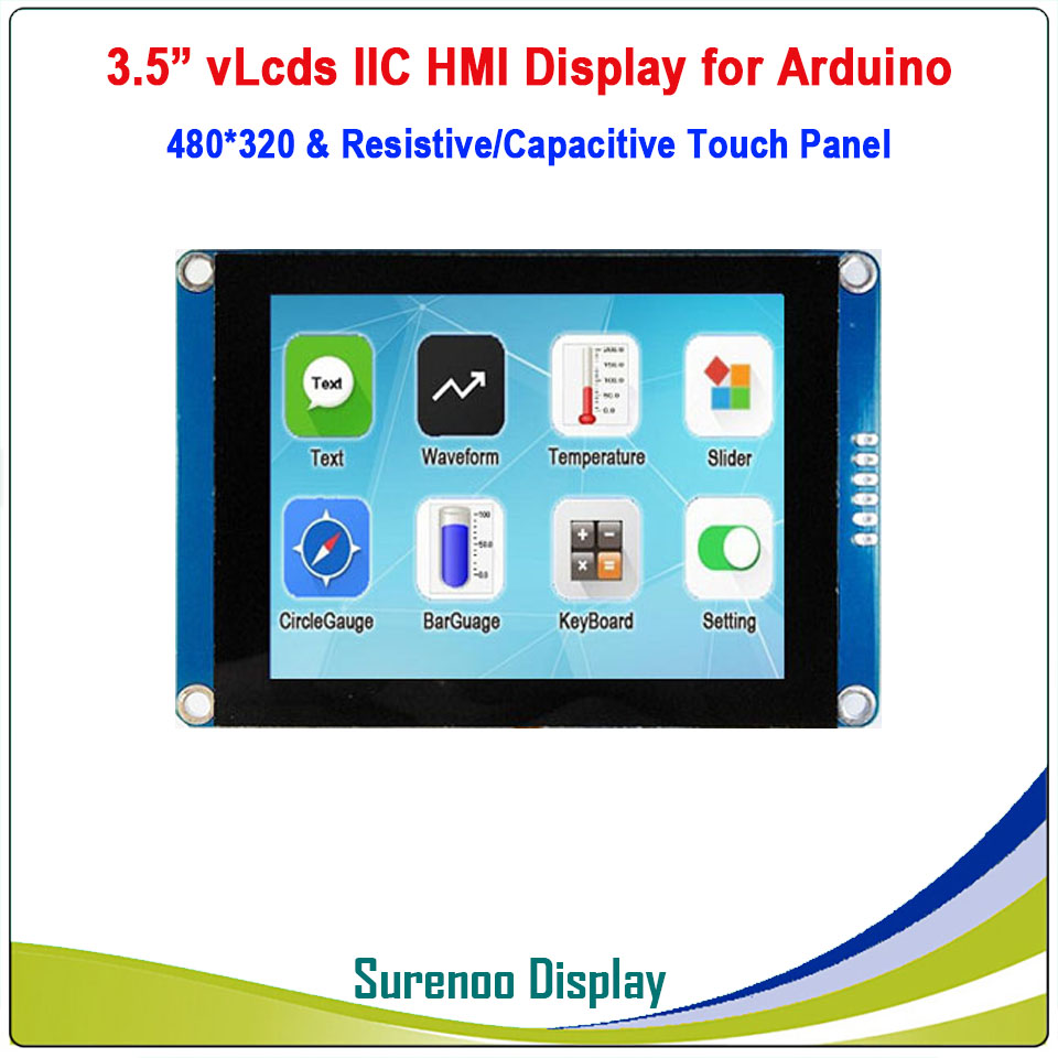 "3.5"" 480*320 Serial I2C IIC VLcds HMI Intelligent Smart TFT LCD Module Display Resistive Capacitive Touch Panel For Arduino"