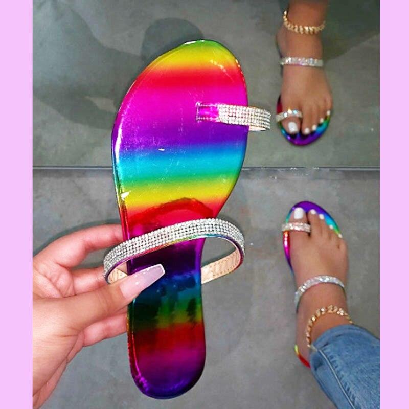 Fashion Summer Flip-flops Sandals Women's Shoes Woman Rhinestone Slides Comfortable Big Size Ladies Multicolor Bling Slippers