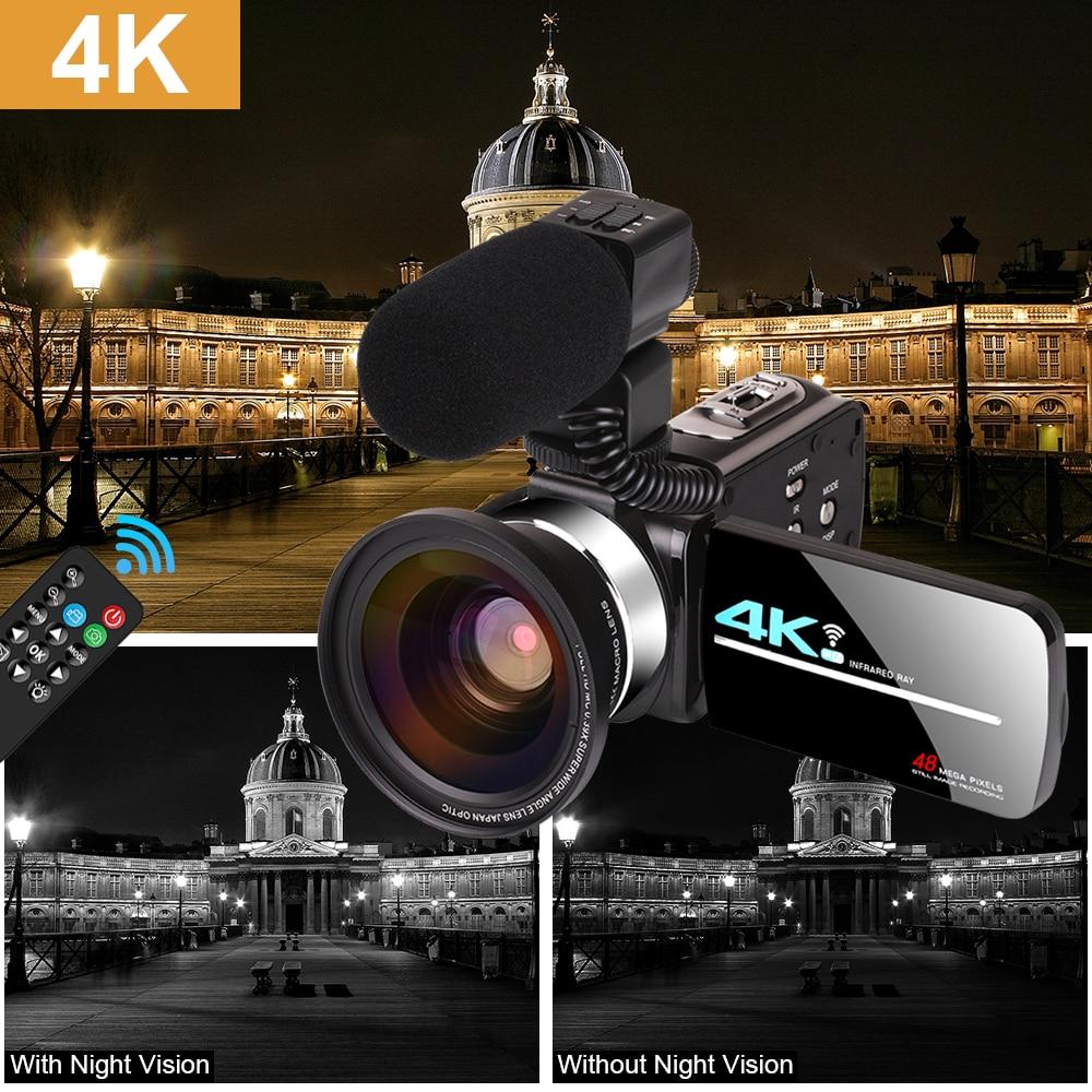 Вертикальная видеокамера 4K UHD для прямой трансляции для Youbute, видеокамера с сенсорным экраном ночного видения 48 МП