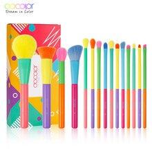 Docolor 15pcs pennelli trucco professionale fondotinta in polvere ombretto trucco set di pennelli capelli sintetici pennelli trucco colorato
