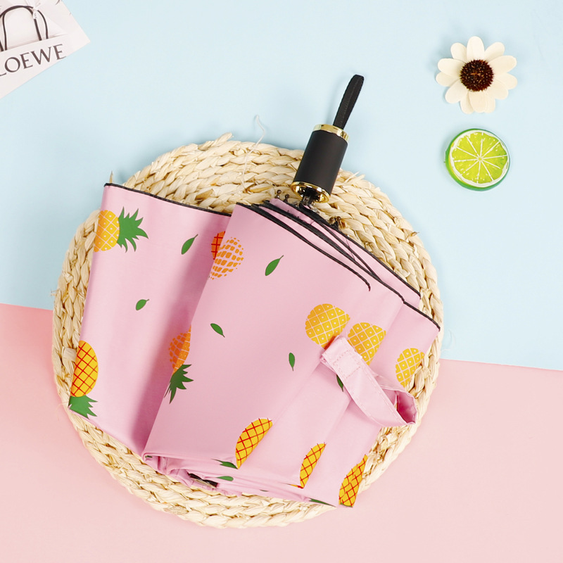 Jiu He Ban Folding Pineapple Three Fold UV-Protection Folding Hand Open Vinyl Sun-resistant All-Weather Umbrella