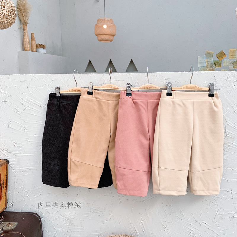 2019 Winter Boys and Girls Pure Color Fleece Warm Loose Wide Leg Straight Woolen Pants Children Infants Cotton Casual Trousers