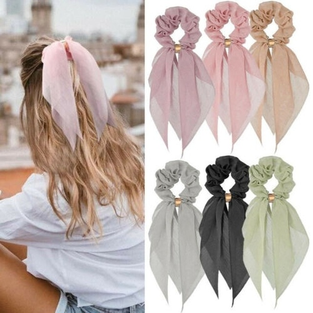 Candy Color Women Hair Scrunchie Bows Ponytail Holder Hairband Bow Knot Scrunchy Girls Hair Ties Hair Accessories Christmas 1