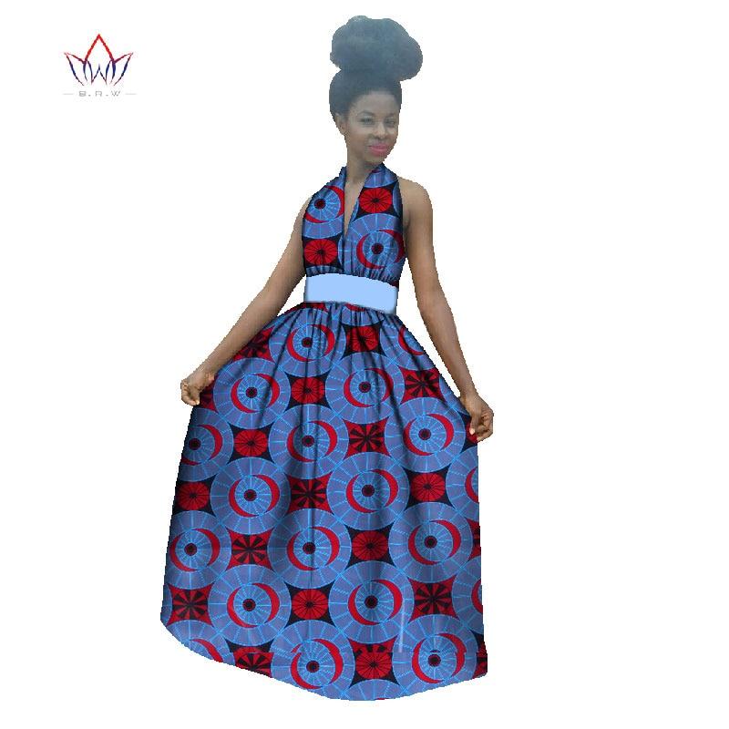Nouveau été 2019 robes africaines pour femmes Vestidos Halter femmes vêtements africains Batik Sexy femmes africaines vêtements WY389