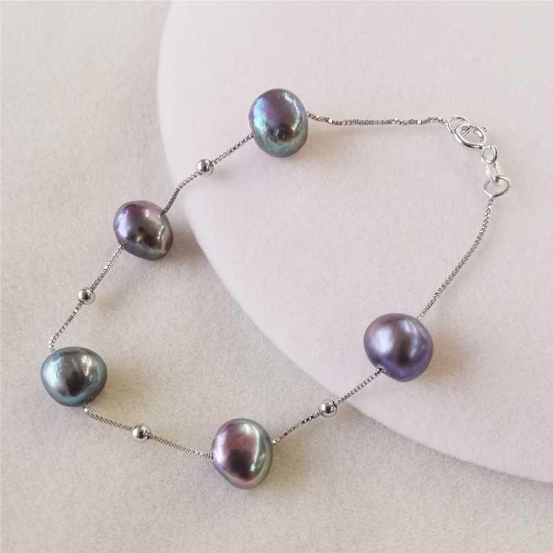 DMBFP362 Natuurlijke Zoetwater Parel Armband 925 Sterling Zilver Zwart/Wit/Roze/Paars Barokke Parel Armbanden Voor Vrouwen