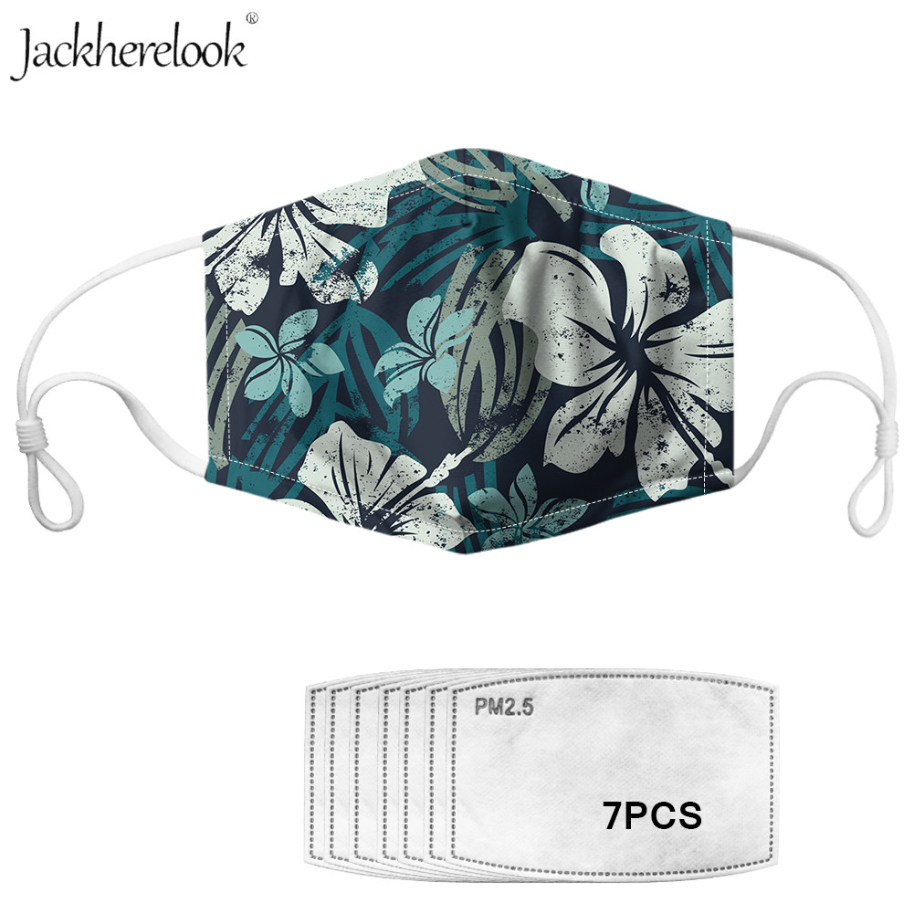Grunge Hibiscus Flowers Print PM2.5 Masks With 7pcs Activated Carbon Filter Tropical Floral Design Anti Dust Masks Cotton Masks