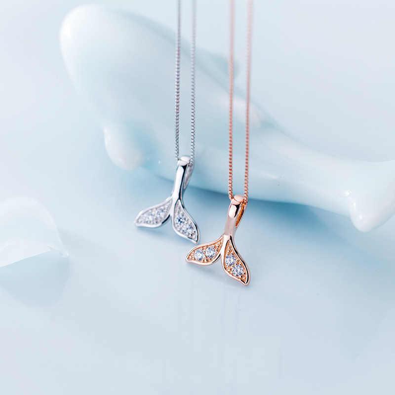 คู่ Lover Dolphins ปลาวาฬหางปลา 925 สร้อยคอจี้เงินสำหรับผู้หญิง Mermaid Tail Sliver เครื่องประดับ Dropshipping