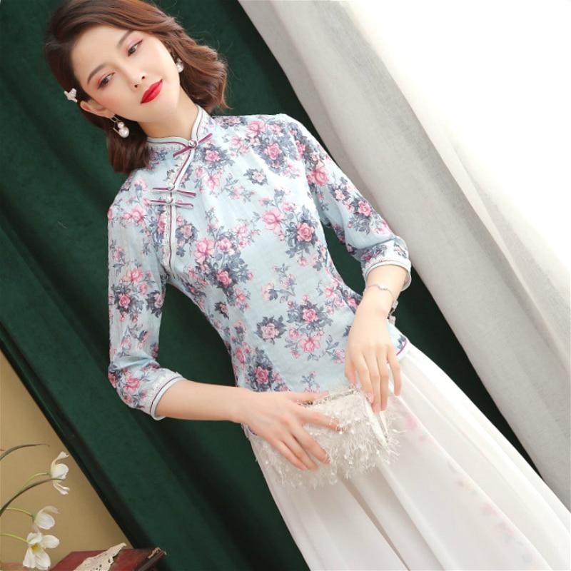 Traditional Chinese Two Peice Set Chiffon Hanfu Dress Blousse Suits Chinesischen Ladies Elegante Flowers Printing Qipao Style XL