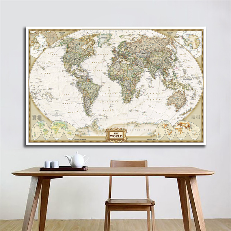 Vintage World Map 150x100cm Antique Poster Wall Chart Retro Paper Matte Kraft Paper Map Of World Without National Flag