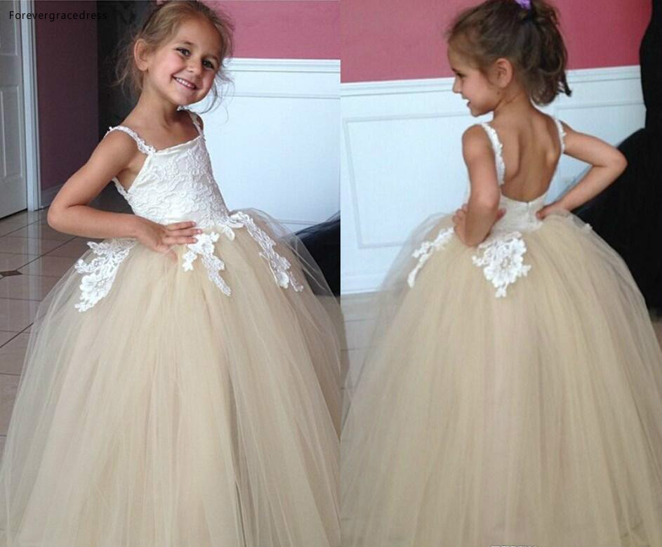 2019 Princess Cheap Lovely Cute Champagne Long Lace Backless   Flower     Girl     Dresses   Daughter Toddler Pretty Kids First Holy Gowns