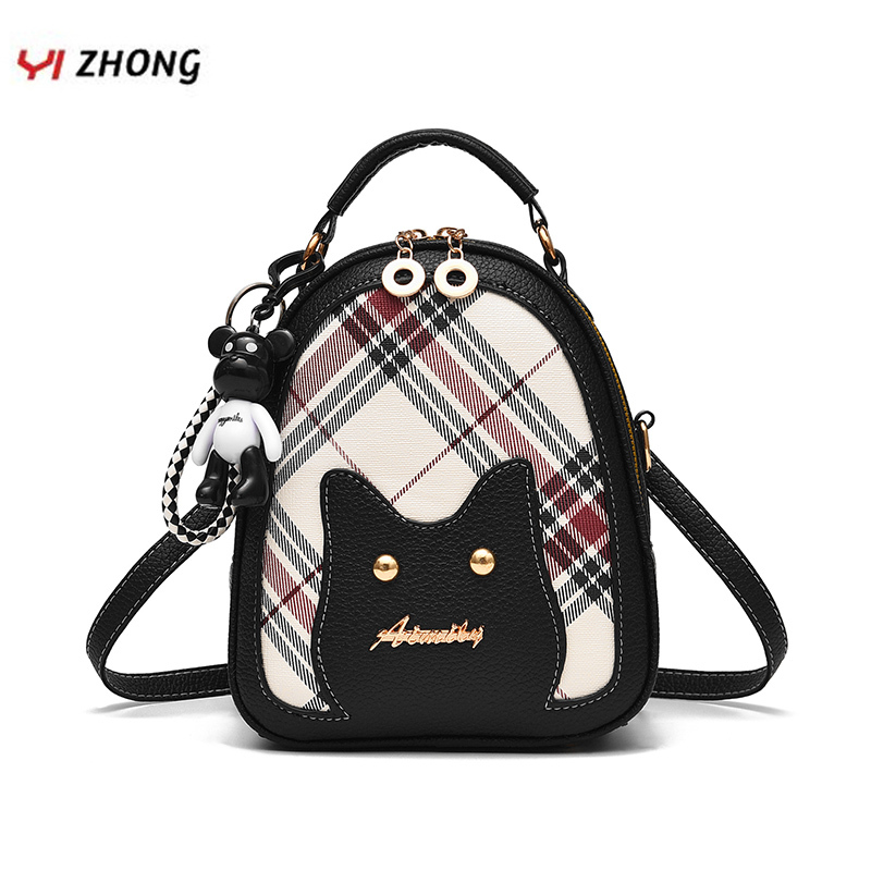 YIZHONG Bear Pendant Mini Luxury Women Backpack Purse Leather Multifunction Shoulder Bag Bookbag For Girls Mochila Feminina
