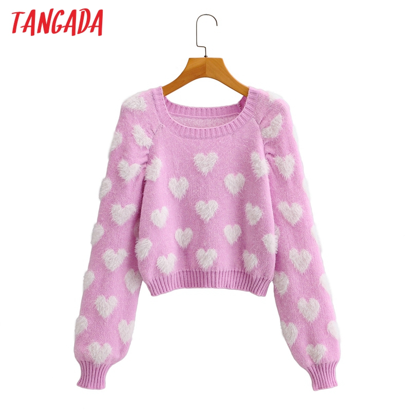 Tangada-suéter de punto Vintage para mujer, de manga larga con cuello redondo pulóvers, Tops Chic, rosa, corazón, 2020