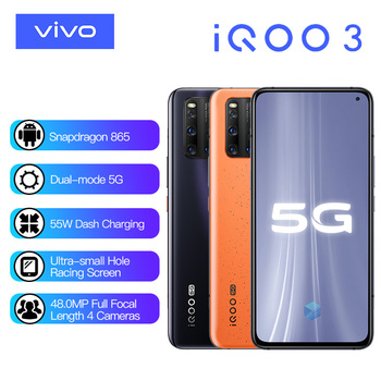 Vivo iQOO 3 5G Mobile Phone Snapdragon 865 6GB 128GB Cellular 4440mAh Battery 55W Dash Charging UFS 3.1 Cell Phones Electronics Mobile Phones