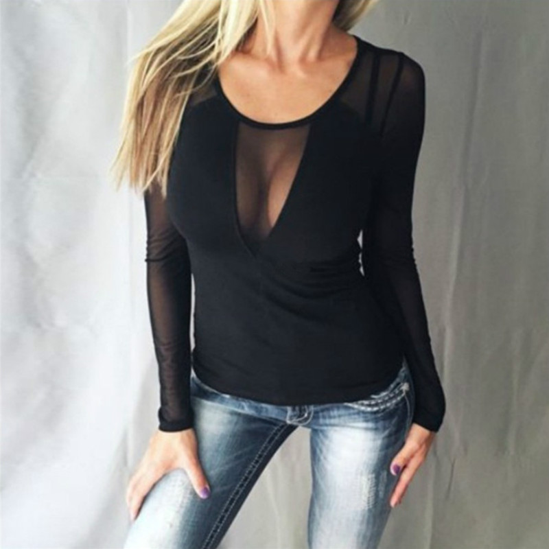 Sexy Womens Tops And Blouses Tight Shirts Plus Size Ladies Tops Clothes Women Long Sleeve Shirts Lace Top Chiffon