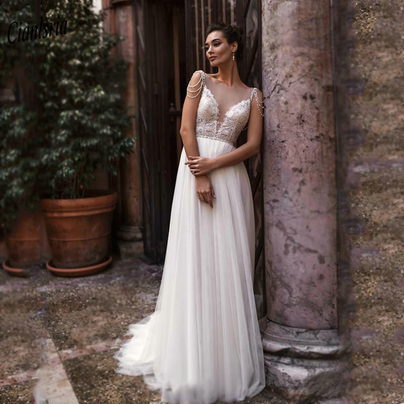Sexy Deep V-Neck Beading Criss Cross Back Long Boho Wedding Dress Sleeveless Appliques Lace Sash Country Bridal Wedding Dresses