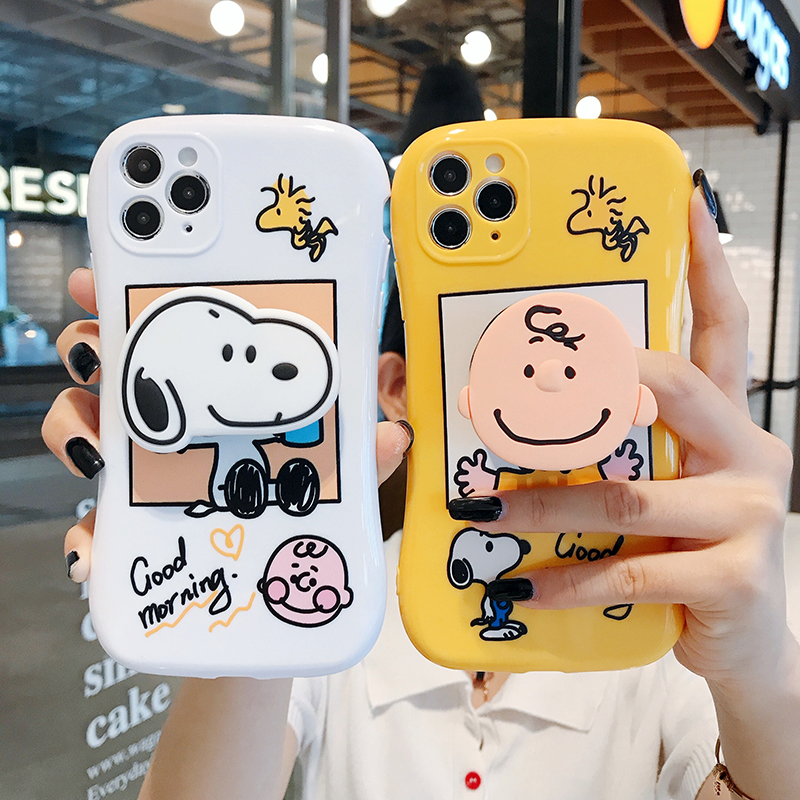 Arc Pet Dog Cute Charlie Brown Ring Soft Silicon Phone Case For Apple Iphone 6 7 8 Plus X XS XR MAX 11 Pro 12 Mini Bracket Cover