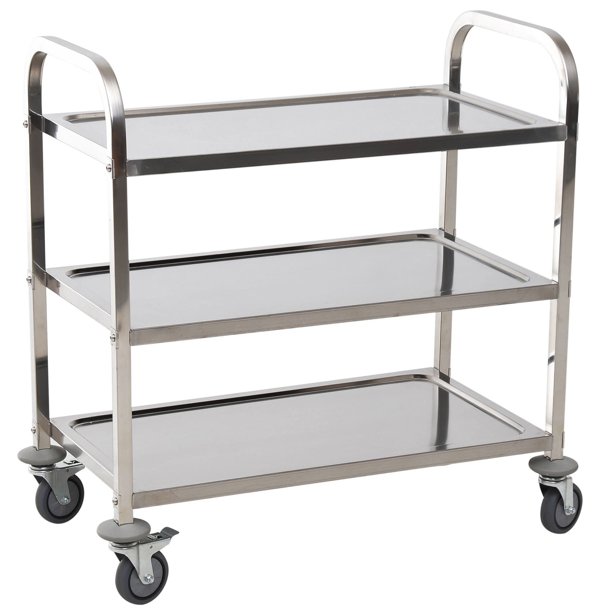 HOMCOM Trolley With 3 Shelves With Wheels Stainless Steel Kitchen 85x45x90cm Silver