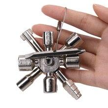 10-em-1 triângulo chave chave chave multifuncional ferramenta de soquete triângulo chave elevador válvula de porta cruz chave de catraca