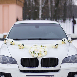 Image 5 - 1セット造花結婚式の車の装飾キットロマンチックなシルク偽ローズ牡丹の花バレンタインデーのギフトパーティー祭用品