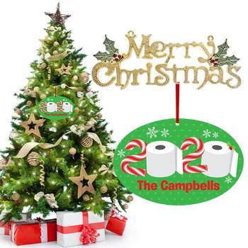 2020 Quarantine Christmas Toilet Paper Ornament Wooden Hanging Pendant Diy Navidad Gifts New Year Home Christmas Tree Decor image