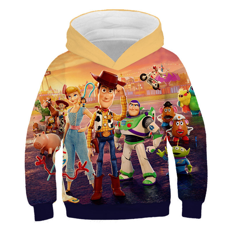 Fashion Toy Story 4 Anime Periphery Action Figure Hoodie 3D Print Sweatshirt Cool Man Game Thin Hoodie Toys For Children Coat