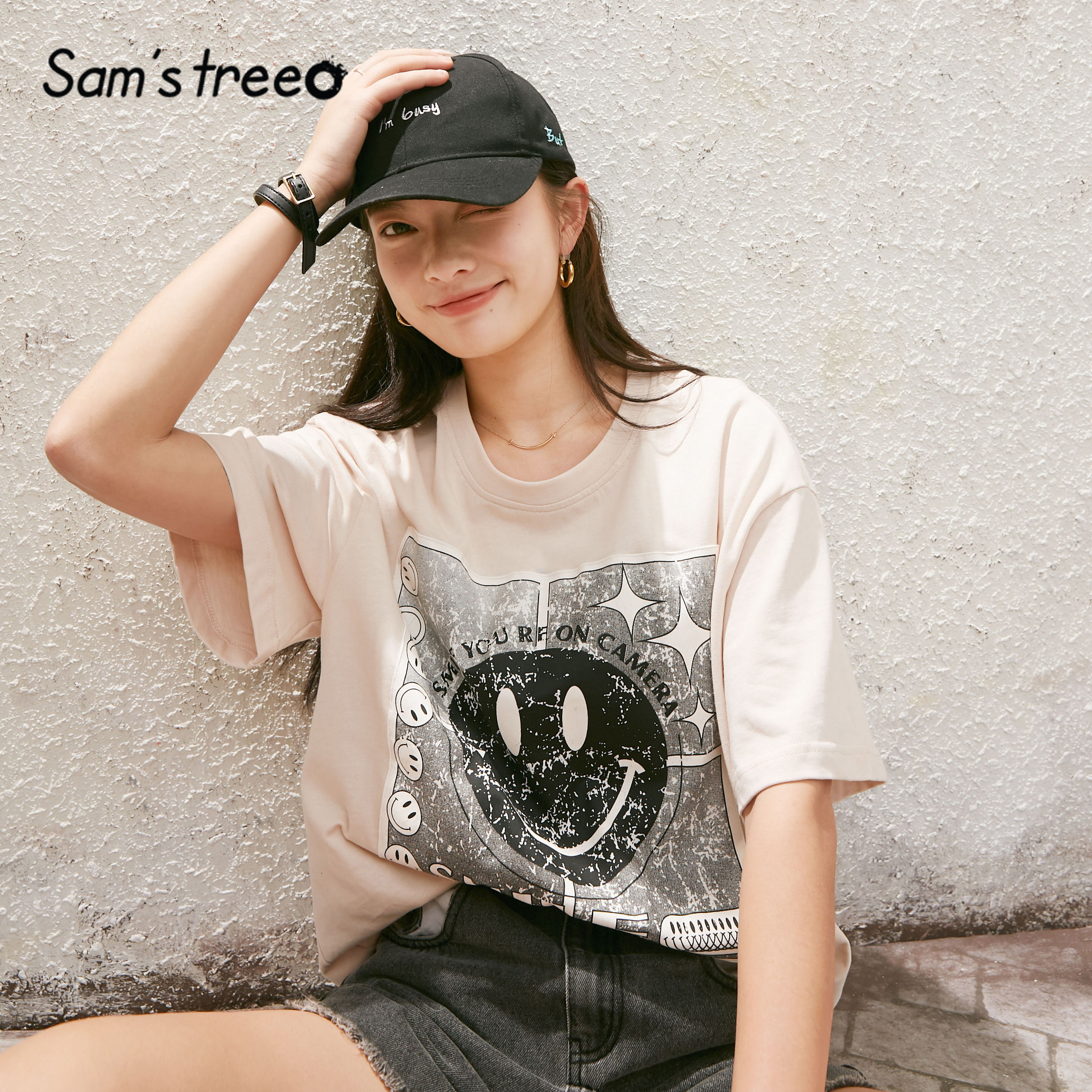 SAM'S TREE Apricot Smile Print Loose Casual Women T-Shirts 2020 Summer New Black Short Sleeve Ladies Korean Lavender Daily Tops
