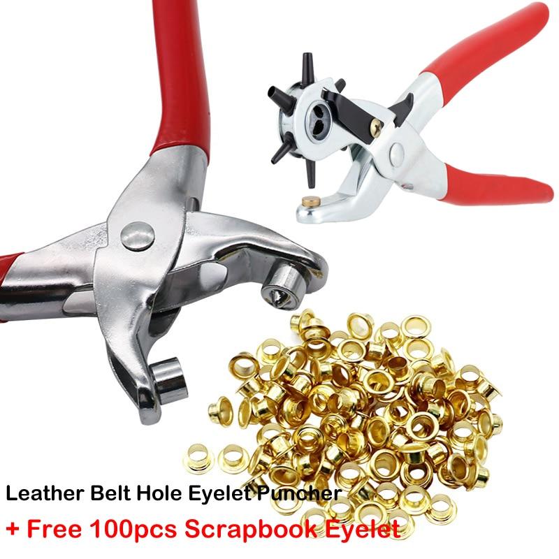 Eyelet Hole Puncher Leather Belt Hole Punch Plier Revolve Sewing Machine Bag Setter Tool Watchband Strap Household leathercraft