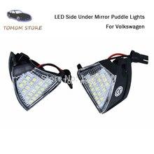 цена на 2pcs LED Side under mirror puddle lights for Volkswagen EOS Rabbit Golf 5 GTI MKV R32 Jetta MK3 Passat CC Sharan Touran Skoda