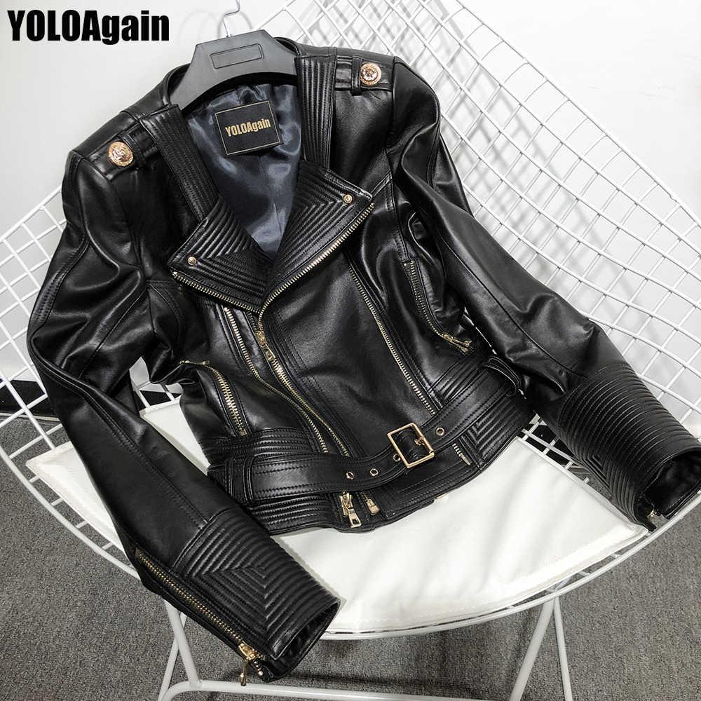 YOLOAgain 여성 정품 가죽 자켓 숙녀 하이 스트리트 더블 지퍼 진짜 가죽 자켓 벨트