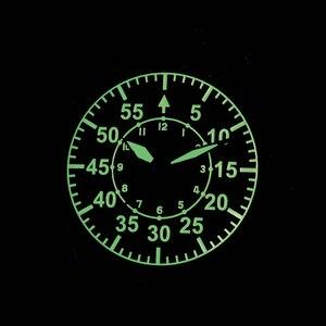 Image 5 - Cronos機械式パイロットfliegerメンズ腕時計ステンレス鋼スケルトンバック防水ブルー手スーパー発光メッシュバンド