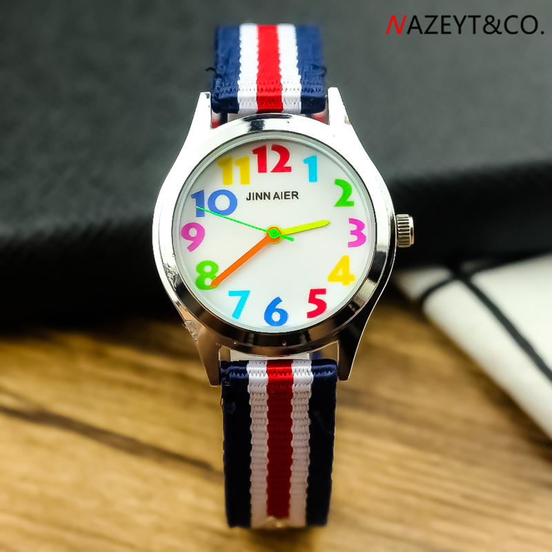 Children Nylon Wristwatch Dropshipping Kids Quartz Watch Little Student Boys Girls Color No. Scale Easy Learn Time Sports Watch