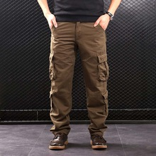 FALIZA Mens Cargo Pants Multi Pockets Military Style Tactical Pants Cotton Mens Outwear Straight Casual Trousers for Men CK102