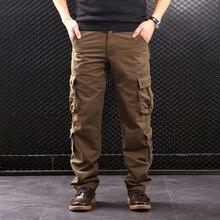 FALIZA erkek kargo pantolon çok cepler askeri tarzı taktik pantolon pamuk erkek dış giyim düz günlük pantolon erkekler için CK102