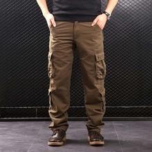 Faliza calças de carga masculina multi bolsos estilo militar tático calças de algodão outwear masculino em linha reta calças casuais para homem ck102