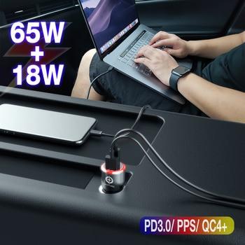83 Вт автомобильное зарядное устройство, 1 порт USB C PPS/PD 65 Вт/45 Вт/30 Вт/18 Вт, 1 порт QC3.0/AFC для ноутбука TYPE C iphone11/SE S10/S20/Note 10 XPS 13/15/17