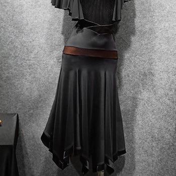 New Ballroom Competition Dance Skirt Balck Irregular Hem Waltz Skirt Stage Wear Performance Clothes Ballroom Dance Dress VDB930