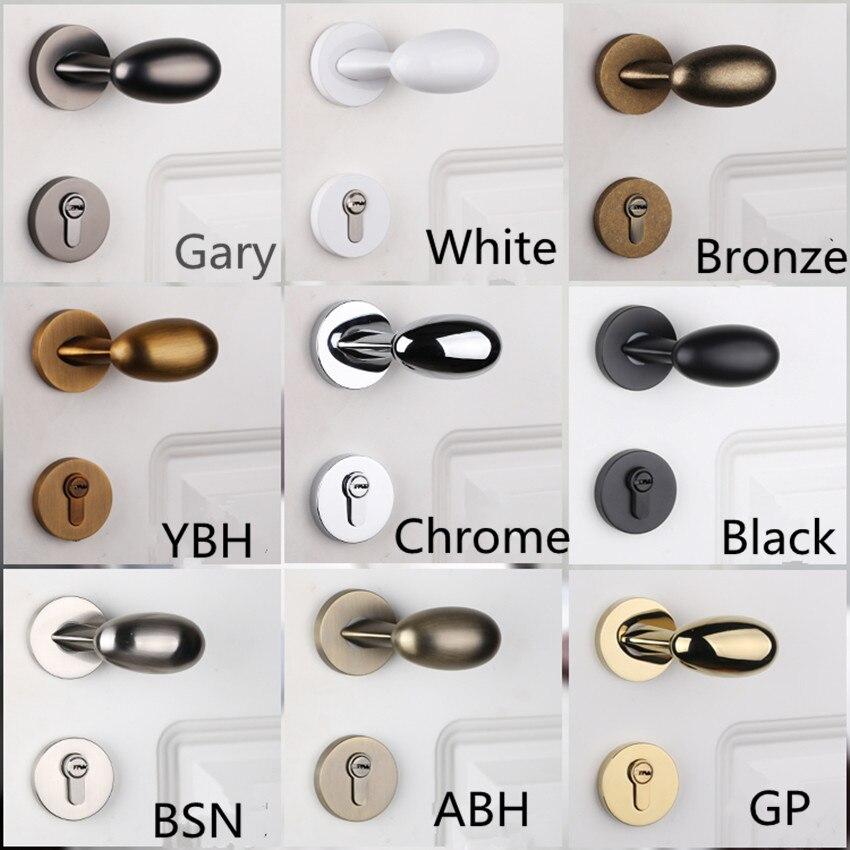 Top Quality Solid Brass Silent mechanical indoor door lock chrome  gold black white bronze Bedroom study kitchen wood door lock