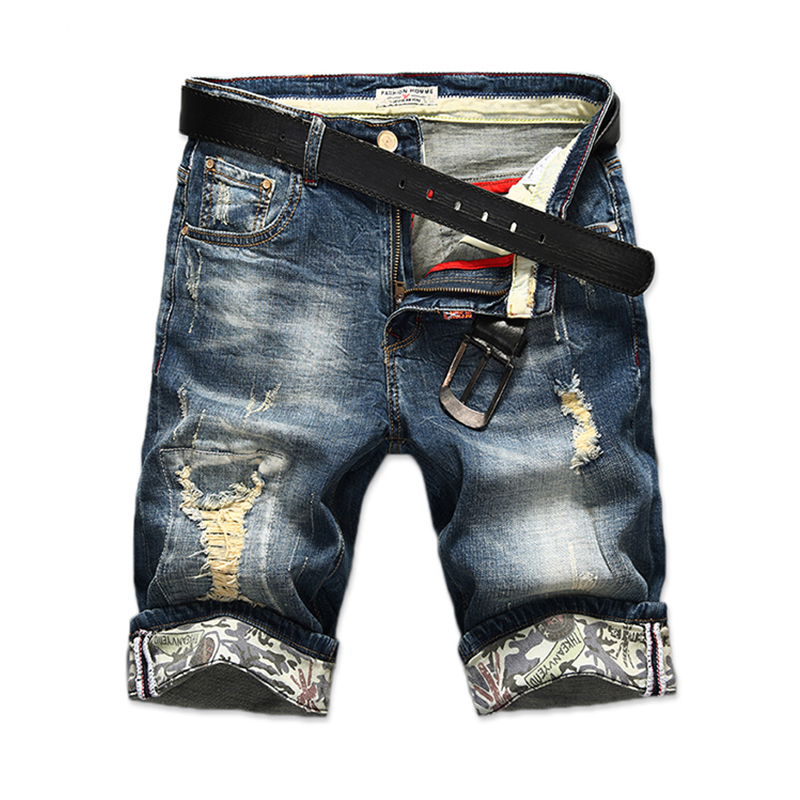 New Brand Fashion Summer Jeans Shorts Men Ripped Short Jeans Bermuda Cotton Denim Shorts Male Breathable Mens Clothing image