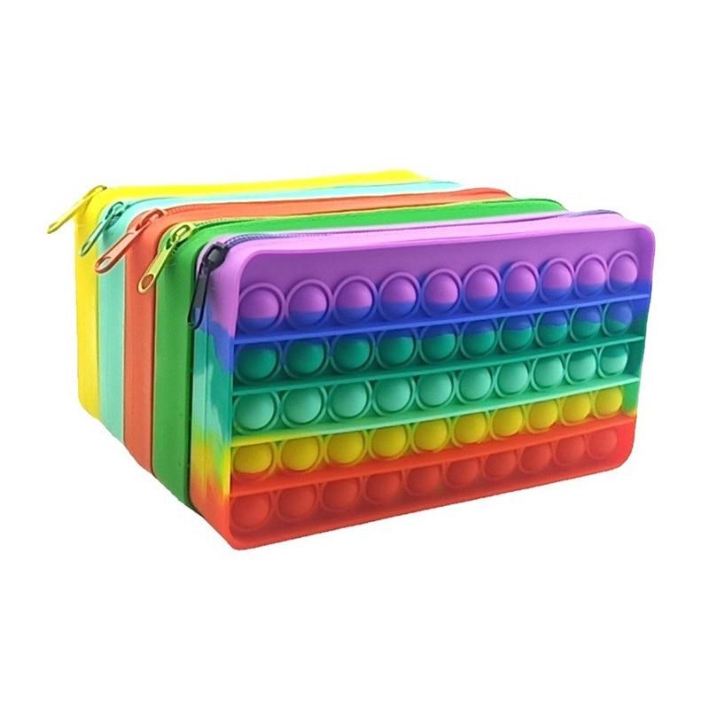 New 20cm Pencil Case Push Bubble Toy Autism Pop Pop Stress Reliever Toys Children Learning Pencil Case Anti-stress Fidget Toys 1