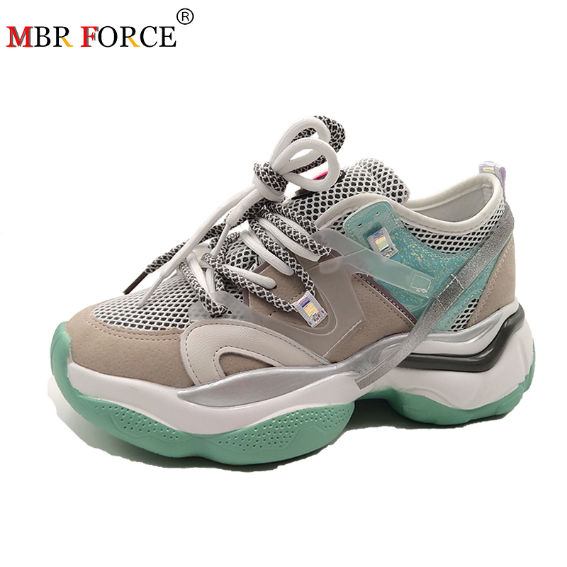 MBR FORCE 2020 New Wedges Sneaker Women Flat platform shoes Fashion Mujer Casual Lace-up Breathable Thick bottom Ladies Shoes