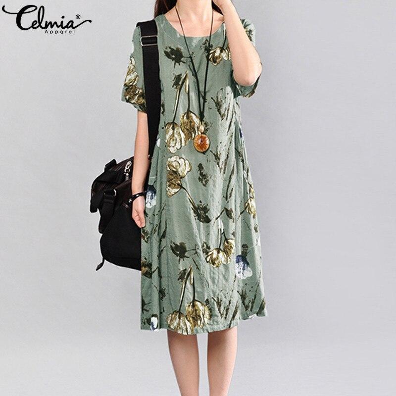 Celmia 2019 Vintage Summer Dress Short Sleeve Loose Women Elegant Floral Print Midi Dresses Casual Party Beach Sundress Vestidos