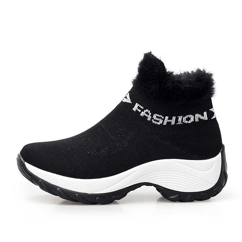 STQ 2020 kış kadın botları platformu yarım çizmeler kadın siyah sıcak kürk uyluk yüksek çorap çizmeler ayakkabı kadın yürüyüş botları 1857