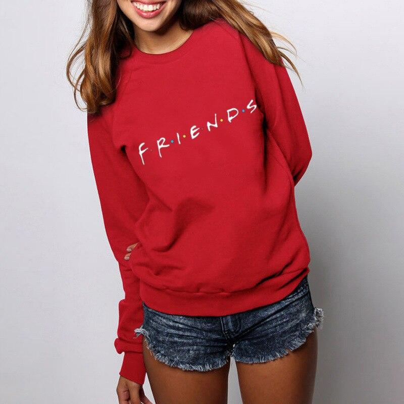 Womens Letters FRIENDS Print Long Sleeve Hoodie Sweatshirt Ladies Slouch Pullover Jumper Tops 5 Colors S